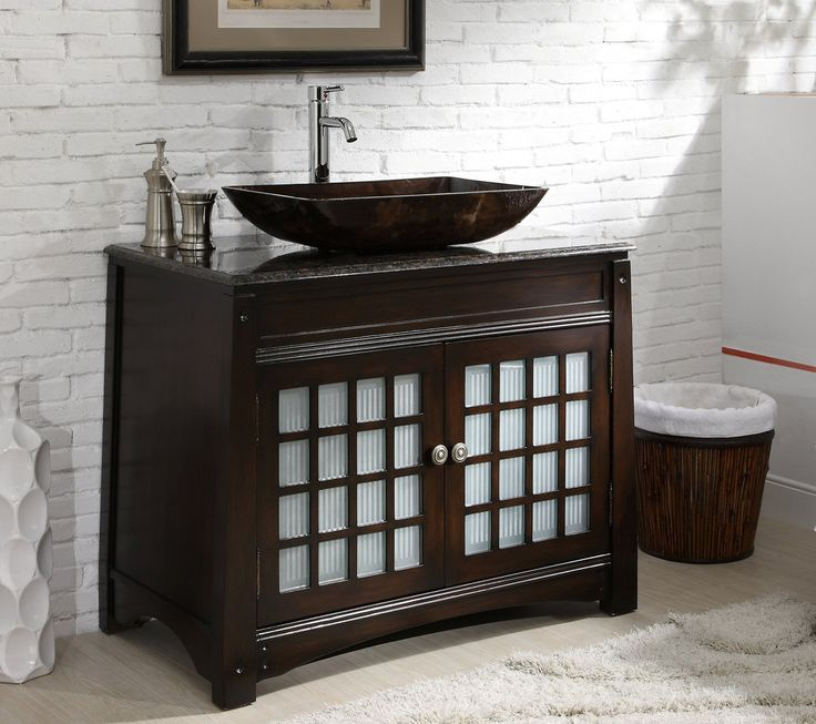 Adelina 38 Inch Vessel Sink Bathroom Vanity, Dark Granite Counter Top, Dark  Mahogany Finish Is A Modern Style Vessel Sink Vanity Cabinet With A Touch  Of ...