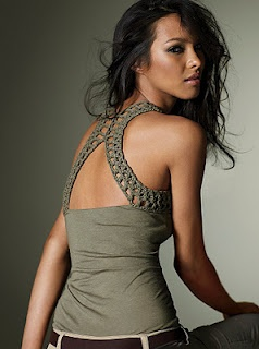 """""""Racerback"""" crochet tank top-- I would love to do a tank refresher with this.  What a great idea!  Just a visual but there is also a pic of the front.  Looks pretty basic."""