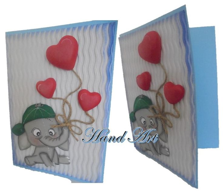 Handcraft cards Beautiful designs, cute elephant and red hearts. handmade recyclable.