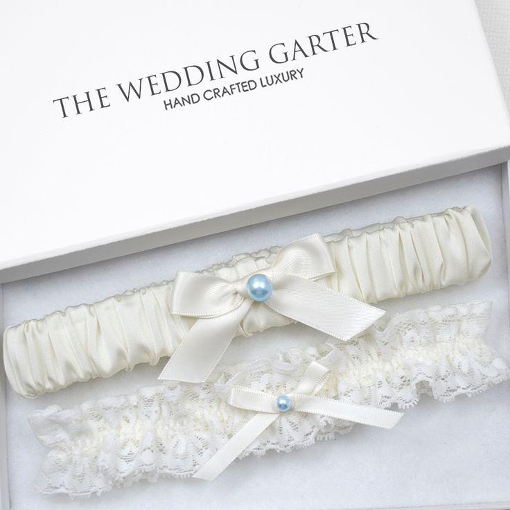 ivory satin wedding garter set