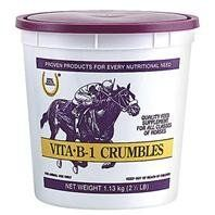 3 PACK VITA B-1 CRUMBLE, Size: 2.5 POUND (Catalog Category: Equine Supplements:SUPPLEMENTS) by FARNAM CO HORSE HEALTH. $45.88. Vitamin b-1 (thiamine) for horses that are strenuously exercised. Contains 500 mg of vitamin b-1 per 1 oz dose. Vitamin b-1 is necessary for normal growth and muscle activity.(Size: 2.5 POUND)