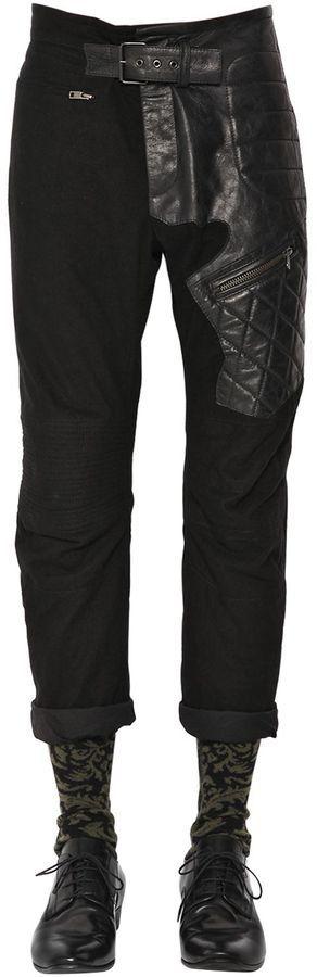 Slim Cotton & Leather Biker Pants