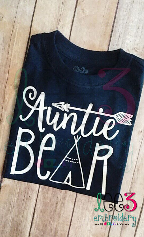 Auntie Bear VNeck Shirt to match the Mama by LeeThreeEmbroidery