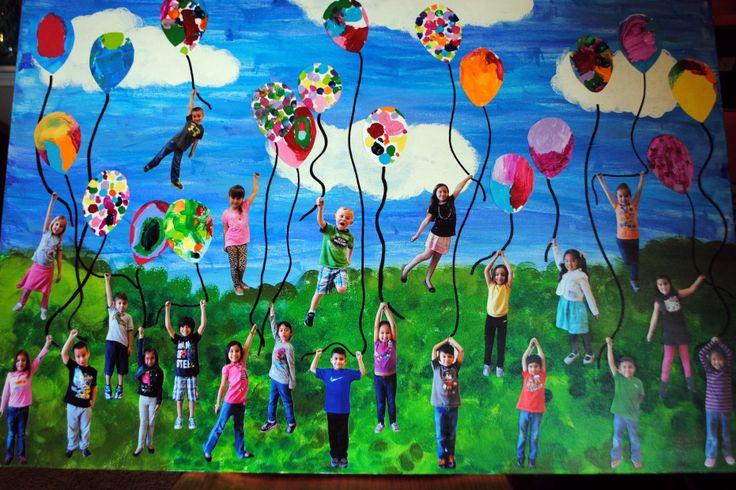 Kinder collaborative art project for school auction.  Super fun. Super easy.