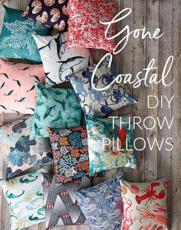 Coastal Themed Throw Pillows - Like a breath of fresh air, our collection of coastal-inspired prints turns any room into an oasis. Scatter a selection of your favorite picks on various throw pillows for the ultimate refreshment -- no sand necessary. Click to see these beautiful designs on a wide variety fabric, wallpaper, and gift wrap. #fabric #design #wallpaper #decorate #diy #sewing #pillows #homedecor #decor #interior #designer #illustration #sew #ilovesewing #diy