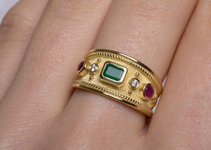 15%off 18k SOLID GOLD RING Emerald Ruby Gold Ring Man