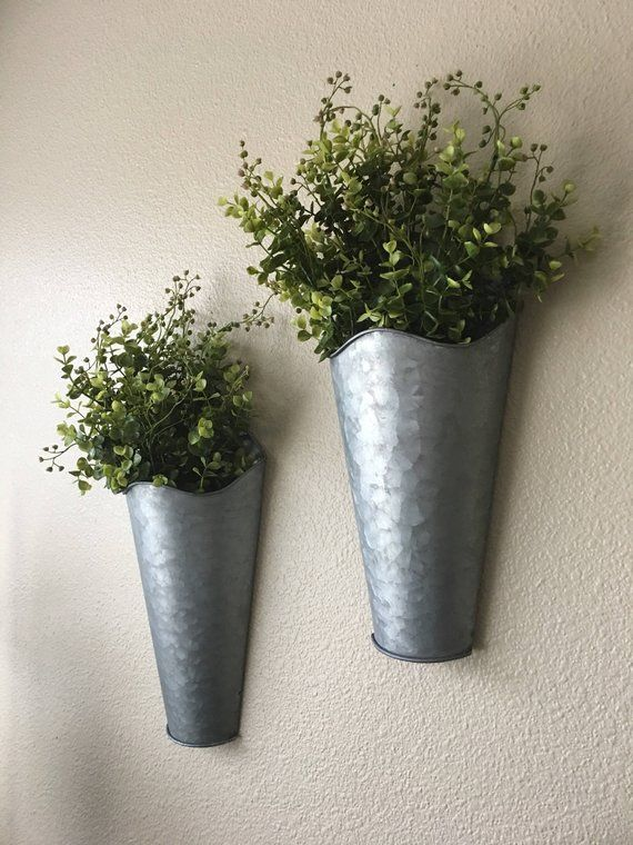 Set Of Two Rustic Wall Decor Sconce With Flowers Country