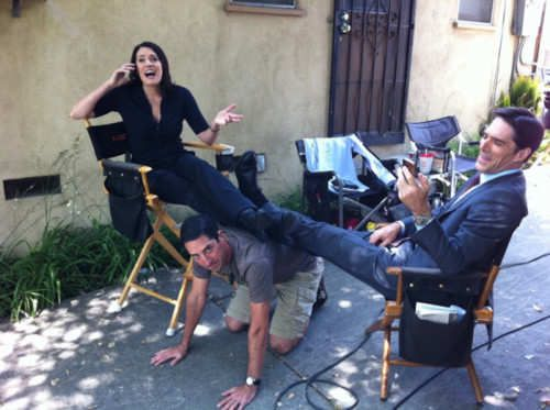 Paget Brewster and Thomas Gibson on the set of Criminal Minds.