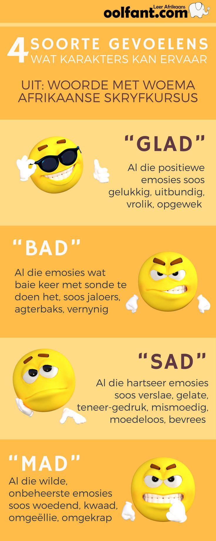 4 Soorde emosies wat karakters kan ervaar    Afrikaanse skryfkursus   Woorde met woema