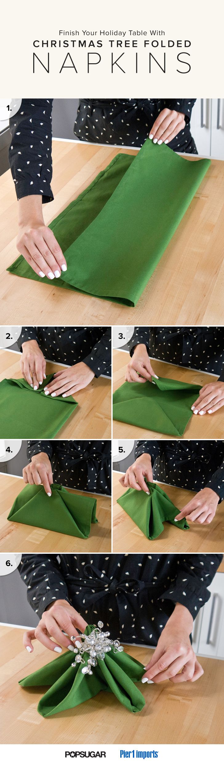 Finish Your Holiday Table With Christmas Tree Folded Napkins