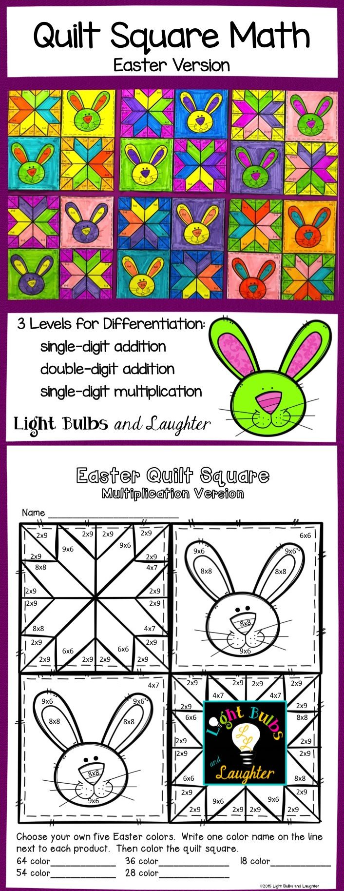 Make an Easter Math Quilt! Three levels for differentiation. Makes a beautiful display =) TpT$