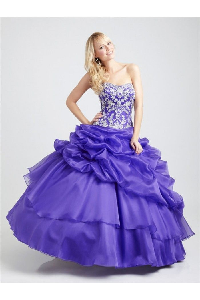 Ball Gown Strapless Violet Purple Organza Embroidered Beaded Corset Prom Dress With Ruffle