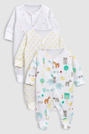 39d688366c56 Bright Animal Sleepsuits Three Pack (0-18mths)