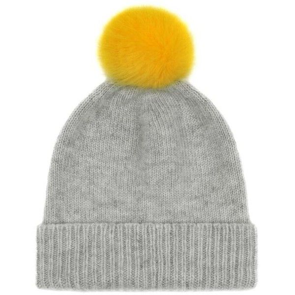 Light Grey/Buttercup Cashmere and Faux Fur Pom Pom Beanie ($93) ❤ liked on Polyvore featuring accessories, hats, fake fur hats, pom pom hat, pom beanie, pompom hat and beanie cap hat