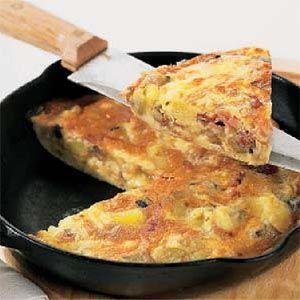 Tortilla de panceta y verduras