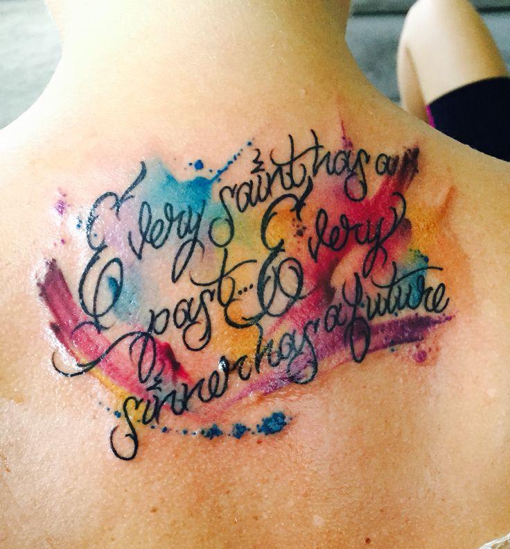 Watercolor script tattoo