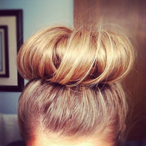 top bun, my idea to hide the dip dyed tips.