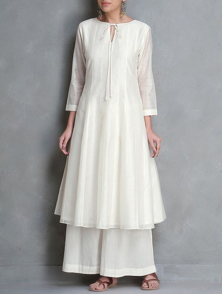 Buy Ivory Tie Up Detailed Kalidar Chanderi Kurta by Smriti Online at Jaypore.com