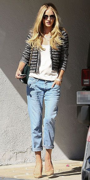 Rosie Huntington-Whitely tweed jacket and boyfriend jeans.