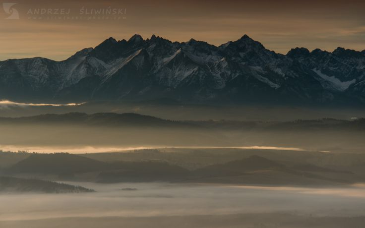Tatra Mountains seen from Gorce, Poland.