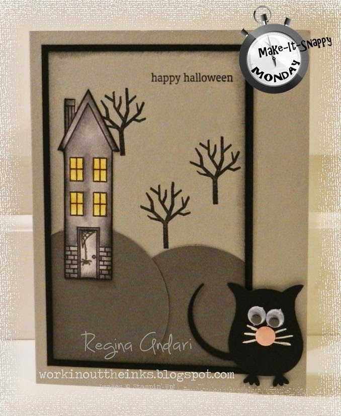 Halloween Card Making Ideas Part - 42: The Owl Builder Punch Is At It Again, This Time With A Sweet (or Spooky?)  Cat On A Handmade Halloween Card. The Haunted House In The Background Is  Complete ...
