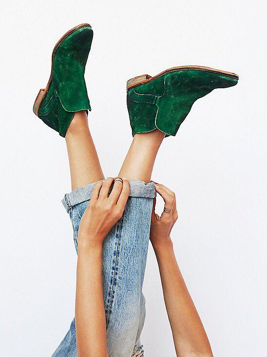 green booties -- free people
