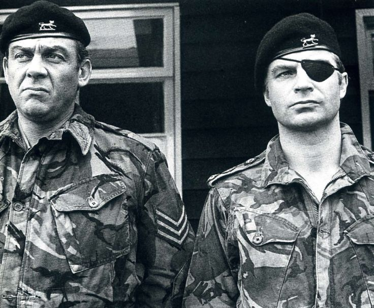 "Sergeant Bowden (Shaun Curry) and Colonel ""Mad Jack"" Miller (John Castle) in Dirtier by the Dozen."