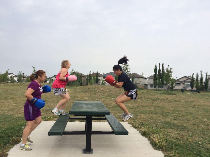 Wonder Woman Fitness at Arashi-Do West Edmonton, taking it outside!