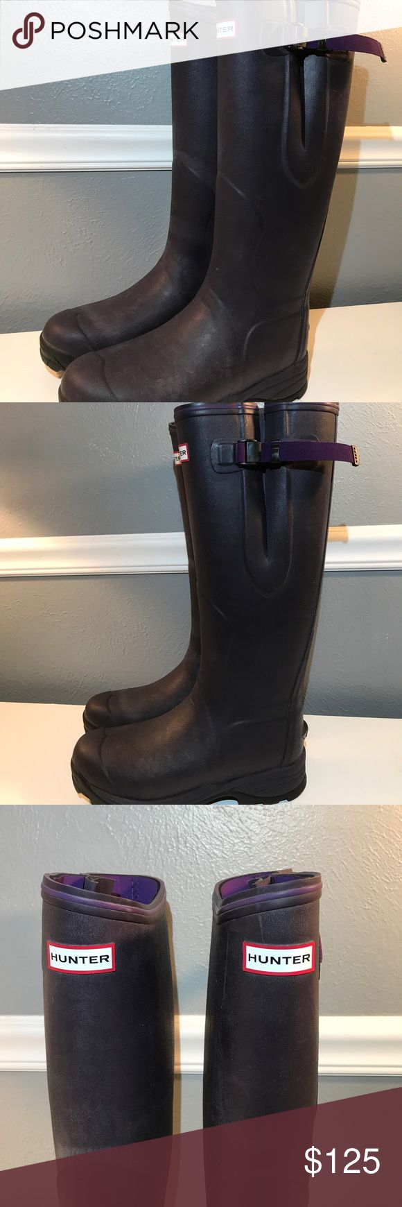 "Hunter Balmoral Neoprene Lined Adjustable Boots. Solid, heavy duty 'Balmoral' rubber boots by Hunter. US8. Reinforced sole for added stability and traction. Tab on the heel to assist in removing them. Adjustable leg to allow for wider fit if needed. Dark purple/eggplant color. Never worn. Please note there's a white powdery ""bloom"" on the leg of the right boot. This is common with Hunter boots and can be removed with Hunter Cleaning products. This is a really great boot - don't miss out…"