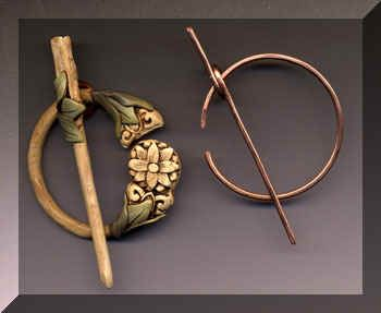 February Clayville Workshop   Comment: how many Celtic pins have I made, but never from clay.  Kudos to Victoria James.