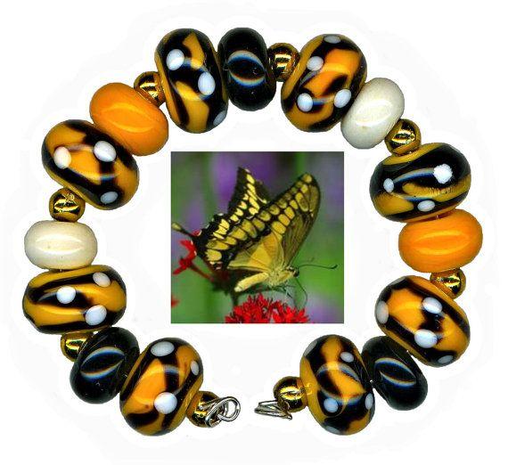 Lampwork Glass Beads Butterfly Yellow Black White by WatkinsStudio