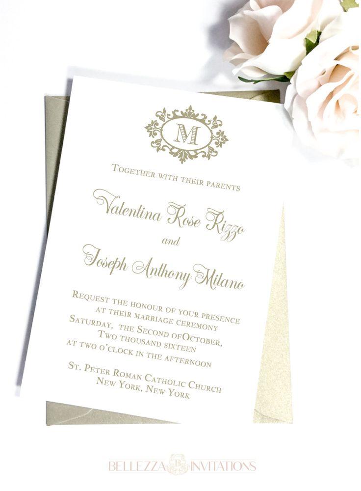 Simple Elegant Gold Wedding Invitations, Simple Elegant Wedding Invitations, Gold Monogram Invitations, Classic Elegant Wedding Invitations by BellezzaInvitations on Etsy
