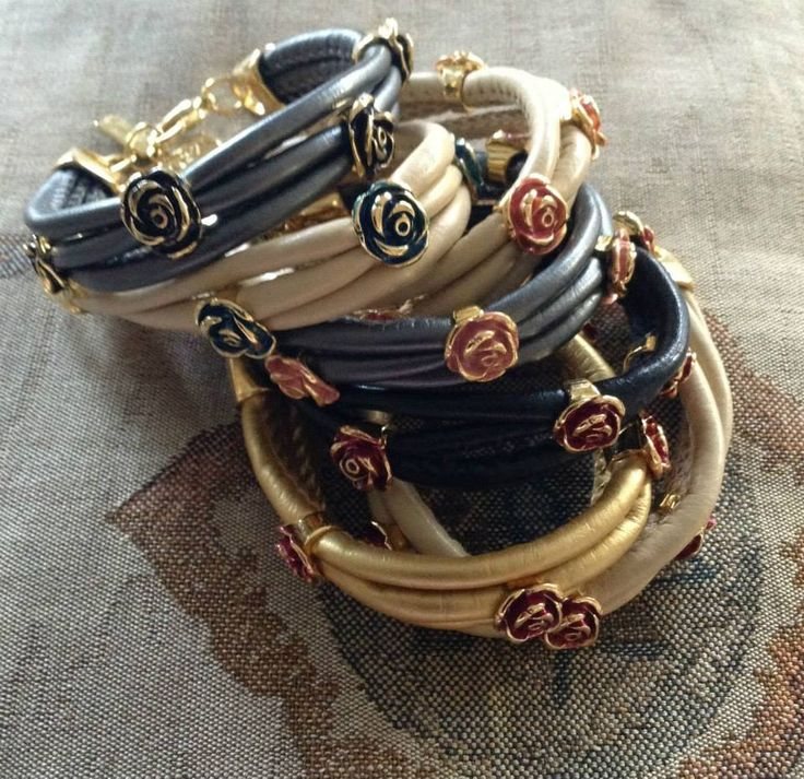 Ozzi leather bracelets  with Smalto and Golden plated details.  Price: 18e #women #fashion #jewelry