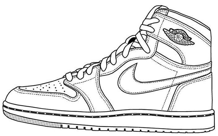 Air Jordan Shoes Coloring Page To Print Sneakers Drawing Shoe