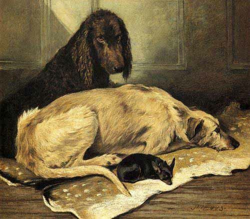 ohn Emms (1844–1912) - An Irish Water Spaniel A Scottish Deerhound And An English Toy Terrier Resting On A Deerskin