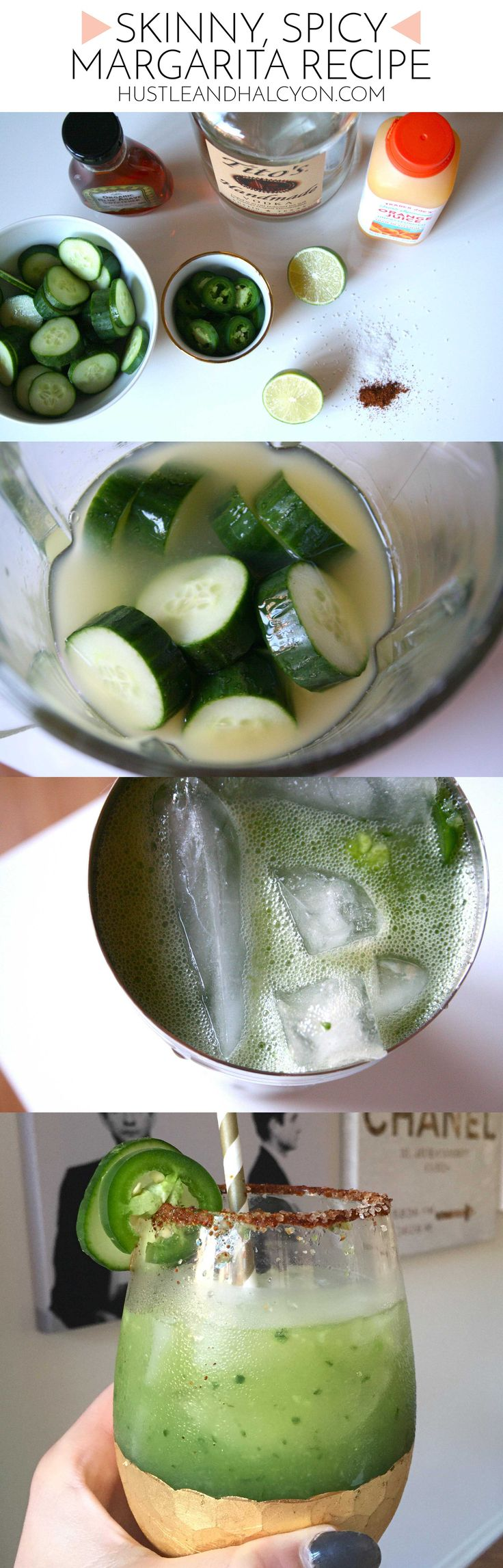 Skinny, Spicy Margarita Recipe | www.HustleAndHalcyon.com