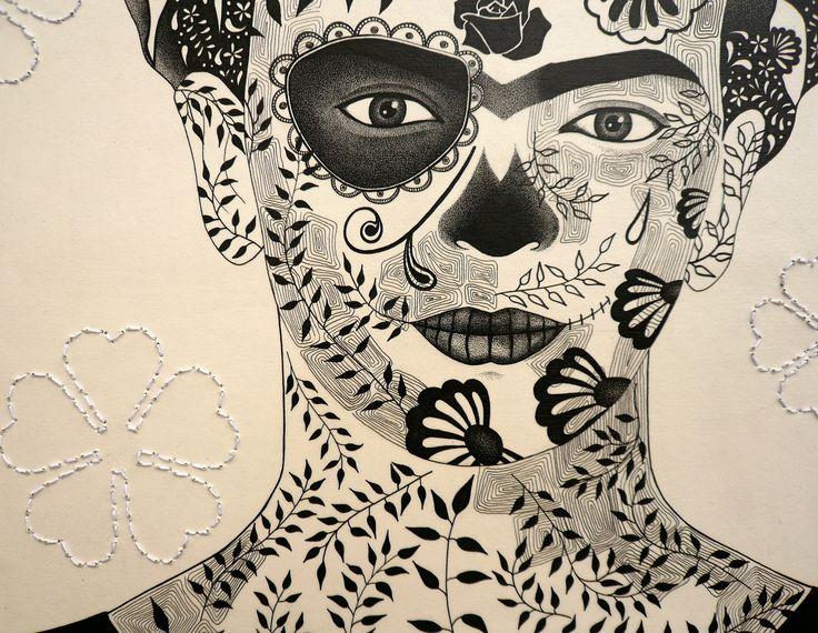 detail of Frida Kahlo illustration by Simone Maynard. https://www.facebook.com/pages/Simone-Maynard/20215749385