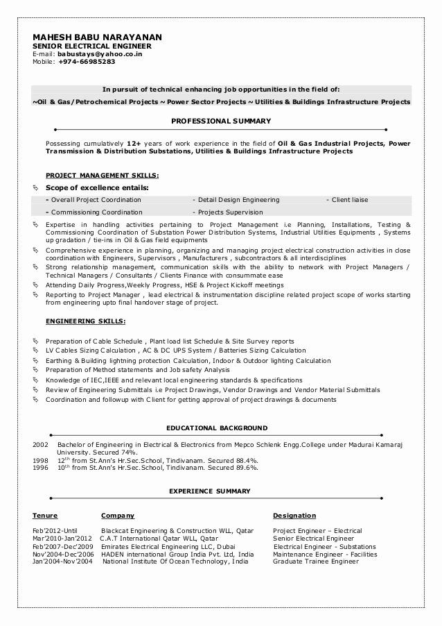 Electrical Engineer Resume Sample Awesome Mbn Cv Senior Electrical Engineer Engineering Resume Job Resume Samples Sample Resume