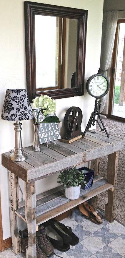 Muebles hechos con palets de madera decoracion pinterest entry ways entryway and tables - Muebles hechos con palets de madera ...