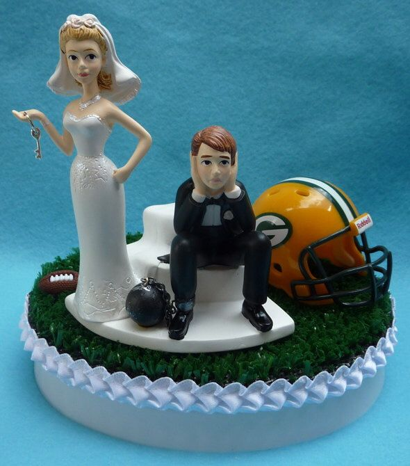 Wedding Cake Topper Green Bay Packers GB Football Themed Ball and Chain Key Turf Topper w/ Cheesehead, Garter Humorous Reception Item Funny by WedSet on Etsy https://www.etsy.com/listing/155416908/wedding-cake-topper-green-bay-packers-gb