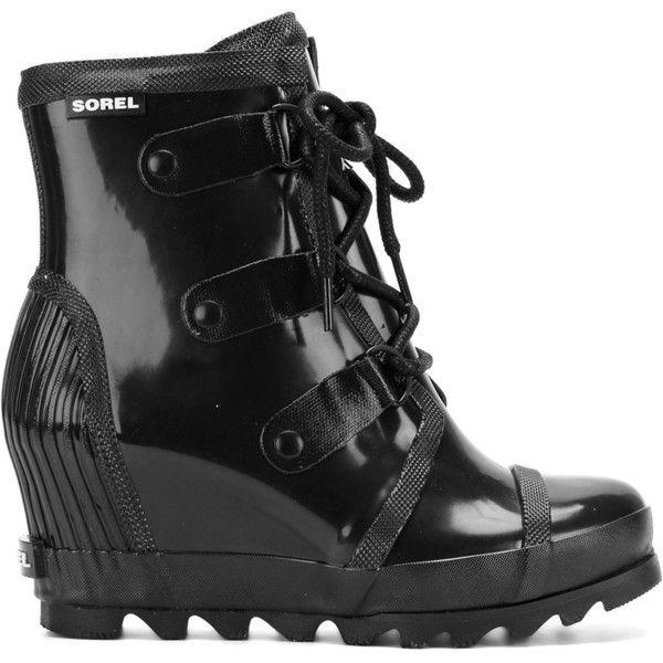 Sorel Joan rain-wedge boots ($169) ❤ liked on Polyvore featuring shoes, boots, black, black wedge shoes, black shoes, wedges shoes, sorel boots and kohl shoes