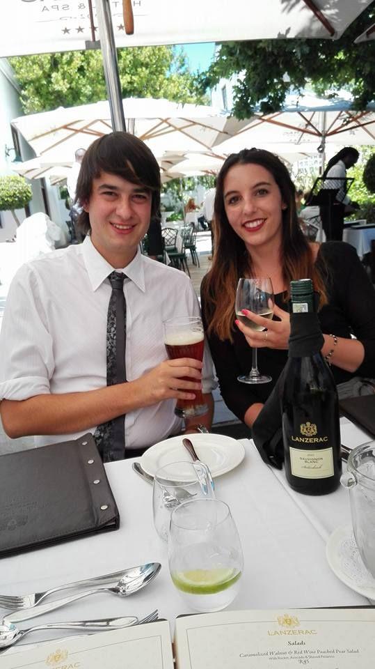 Niel de Kock celebrating his graduation with Liezl de Kock with Lanzerac Sauvigon Blanc at The Terrace Restaurant on Lanzerac Estate