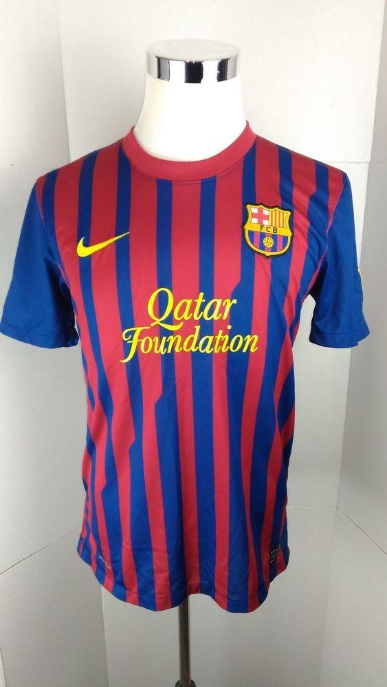 Barcelona PUYOL #5 Home Football Shirt Soccer Jersey Nike Unicef Size M  A01-02 #Nike #Jerseys