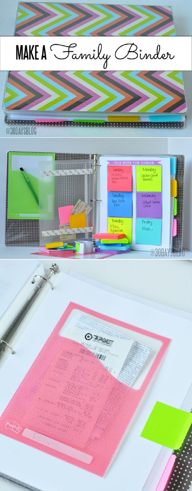 Family Binder - 12 DIY Binder Organization Projects | Keep the whole family organized with these ideas. | www.thirtyhadmadedays.com
