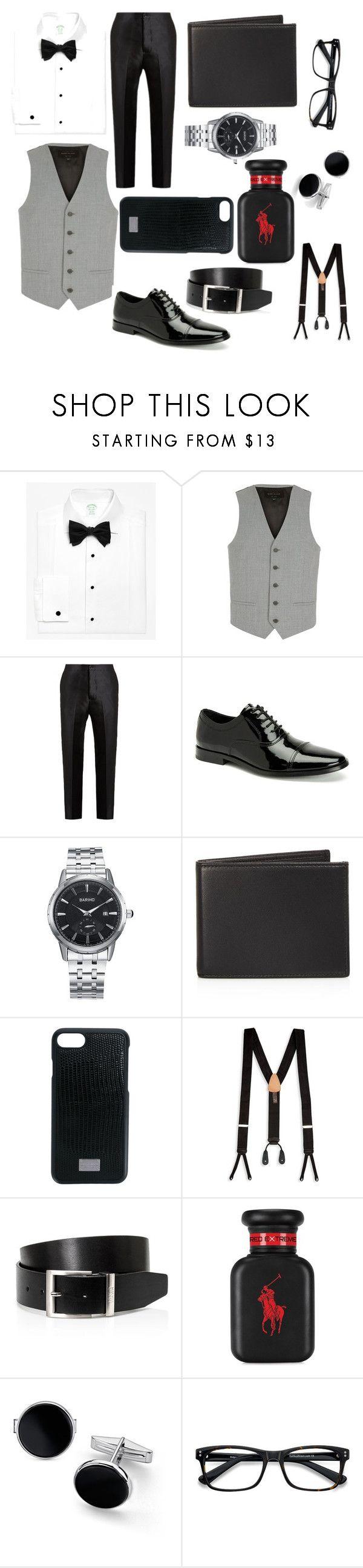 """Smart suit 👨🏫👨✈️👨🏼⚖️"" by caitlinthomson ❤ liked on Polyvore featuring Brooks Brothers, River Island, Bottega Veneta, Calvin Klein, The Men's Store, Dolce&Gabbana, Trafalgar, HUGO, Ralph Lauren and Blue Nile"