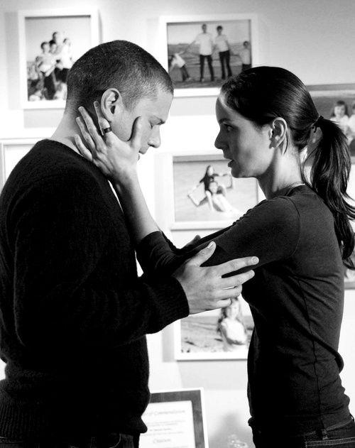 Prison Break, Michael Scofield and Sara. Great tv, show, portrait, photo b/w.