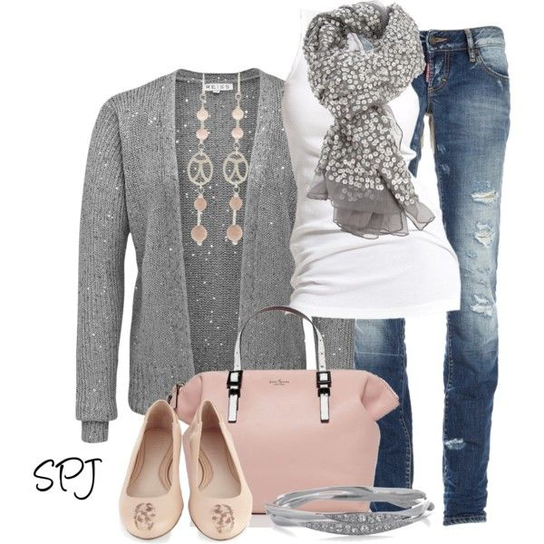 A fashion look from January 2013 featuring sequin top, white tank top and distressed jeans. Browse and shop related looks.