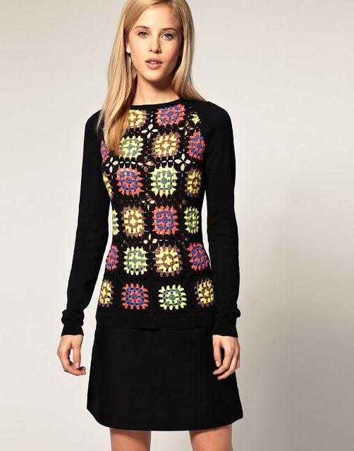 Crochetemoda: Blusa de Squares de Crochet 2 plaatjes eronder duidelijkere foto