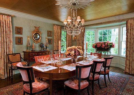 Hollywood glam rules in the dining room with a gold leaf Rules for painting ceilings