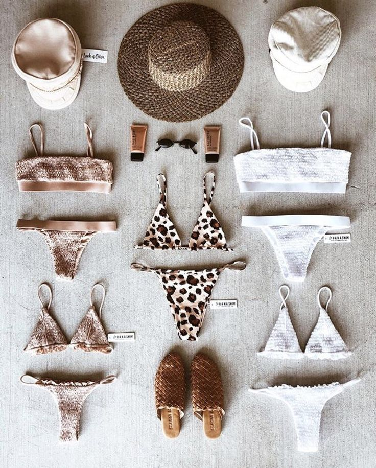 Beige swim suit flat lay